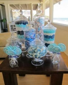 blue candy table - I would like to do this in pink may for sweet sixteen party! Idee Baby Shower, Baby Shower Themes, Baby Boy Shower, Shower Ideas, Baby Shower Candy Table, Babyshower Candy Bar, Baby Showers, Frozen Baby Shower, Frozen Theme Party