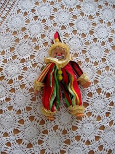 Vintage Cute and Sad Clown Doll with Terry Cloth Stripe Outfit  $10.00  #craftshout
