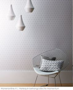A glass bead pattern for a cream-white wallpaper that reminds of the simple beauty of honeycomb. With a pearls shimmer in an elegant white-silver hue, it provides a sophisticated ambience to every living room. Decor, Interior Design, House Interior, Furniture, Living Room, Trellis Wallpaper, Interior, Home Decor, Room