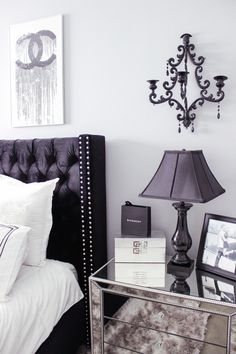 Black & white bedroom decor chic, glam bedroom decor blondie in the cit White And Silver Bedroom, Silver Bedroom Decor, Grey Bedroom With Pop Of Color, Black White Bedrooms, Black Bedroom Furniture, Glam Bedroom, Bedroom Black, Grey Bedrooms, Kitchen Furniture