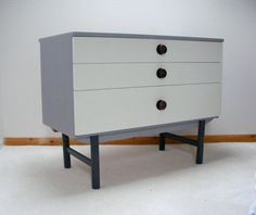 Mid century chest of drawers storage upcycled and painted with Annie Sloan Grey chalk paint