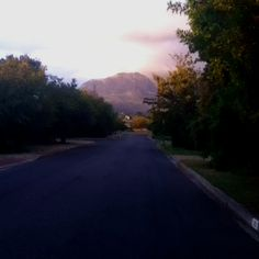 Evening run up Helderberg Mountain View, South Africa, Country Roads