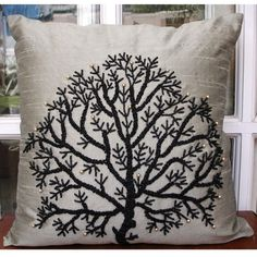 Silver Tree Of Life Throw Pillow Covers 16x16 by TheHomeCentric