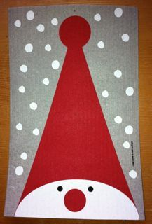 Discover the Swedish Dishcloth - Tall Hat Tomte - 9 inch x 6 inch - Wiping up never looked this good.absorbs 15 times it weight in water! Christmas Card Crafts, Homemade Christmas Cards, Xmas Cards, Christmas Projects, Kids Christmas, Handmade Christmas, Holiday Crafts, Christmas Decorations, Winter Crafts For Kids