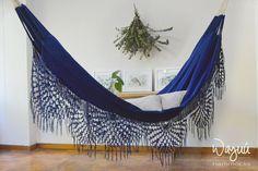 Macondo blue Hammock, nautical, boho, 100% cotton, hand woven, outdoors, luxury, traditional