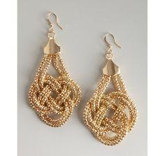 Kenneth Jay Lane gold large knot earrings
