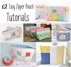 12 Zipper Bags Tutorial + Free Sewing Pattern, DIY, patchwork zipper bag, make-up bag, travel bag, easy sewing projects