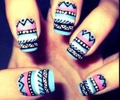 Patterned indian nail art via weheartit.com