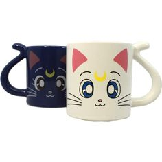 Luna and Artemis Pair Mug Cup (54 AUD) ❤ liked on Polyvore featuring home, kitchen & dining, drinkware, japanese cups and animal mugs