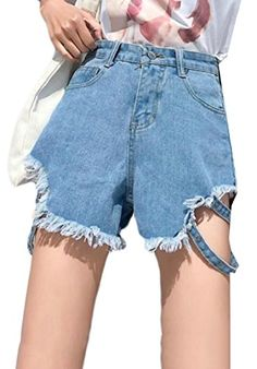 01aae203c3 omniscient Womens Casual High Wast Irregular Ripped Hole Tassel Jean Shorts