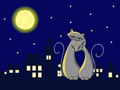 Two grey cats in love sitting at the roof at night stock vector