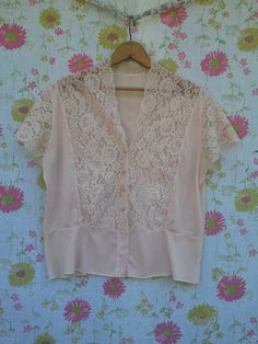 Vintage Pink Lace Short Sleeved Shirt by vintapod on Etsy, $10.00