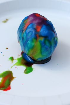 Volcano Easter Eggs: baking soda, vinegar, and leftover egg dye (or food coloring).