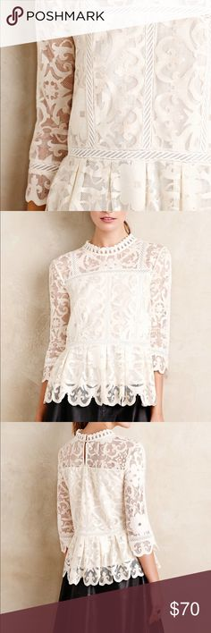Anthropologie HD In Paris Nautical Lace Top Anthropologie HD In Paris Nautical Lace Top Great Conditions Size 10 Anthropologie Tops Blouses