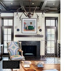 That chandelier! The charcoal gray trim and coffered ceiling