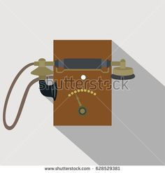 vintage wall telephone vector illustration