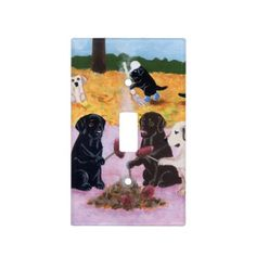 Labradors Autumn Fun Painting Light Switch Plates.  Whimsical Labrador Painting design for Lab fans!  http://www.zazzle.com/happylabradors*/