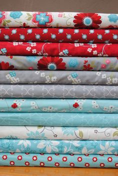 Heather Mulder Peterson for Henry Glass, Seaside Cottage, Fat Quarter Bundle, 11 prints, turquoise/gray. $24.75, via Etsy.