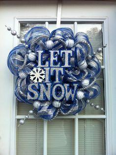 Let It Snow Blue/Silver Mesh Wreath by KKsHandmadeWreaths on Etsy, $40.00