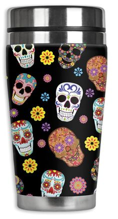 Amazon.com: Mugzie® brand 16-Ounce Travel Mug with Insulated Wetsuit Cover - Sugar Skull Toss: Kitchen & Dining