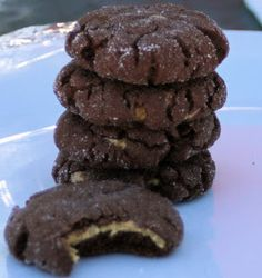 Magic In The Middle Cookies - chocolate cookies with soft peanut butter in the middle - SixSistersStuff.com