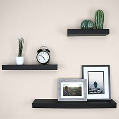 Ballucci Block Floating Wall Ledge, Set of Black ** Learn more by visiting the image link. (This is an affiliate link) Modern Floating Shelves, Contemporary Shelves, Floating Shelf Decor, Wall Ledge, Shelf Arrangement, Black Shelves, Bedroom Decor, Wall Decor, Shelves In Bedroom