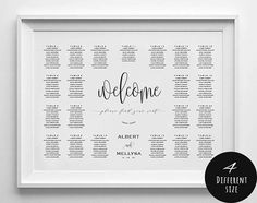 Wedding seating chart printable seating chart landscape Seating Chart Template, Seating Charts, Find Your Seat Sign, Baby Bash, Seating Chart Wedding, Blue Wedding, All Design, Shower Invitations, Letter Board