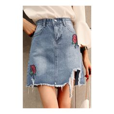 Yoins Light Blue Destroyed Denim Pencil Mini Skirts with Rose... (38 BAM) ❤ liked on Polyvore featuring skirts, mini skirts, denim skirt, light blue skirts, blue pencil skirt, pencil skirts and denim mini skirt