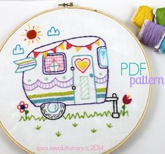This would be so cute at my parents lake place with home sweet home underneath.  Retro Camper Embroidery PDF Pattern  - via @Craftsy