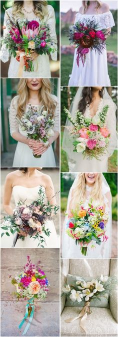 25 Chic Bohemian Wedding Bouquets Bohemian chic style is so relaxed that I just can't help sharing such ideas with you! Wedding bouquets in this style are also peaceful yet very eye-catching. Most of boho brides love to choose wild or field flowers be. Trendy Wedding, Boho Wedding, Floral Wedding, Perfect Wedding, Wedding Bouquets, Wedding Styles, Wedding Flowers, Dream Wedding, Wedding Dresses