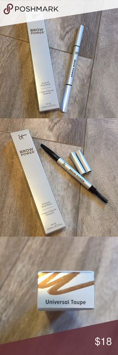NWT It Cosmetics universal brow pencil Never used. New in box. Pencil on one end and brow brush on the other. Universal taupe color. Details at Ulta for $24. Bundle with any other item in my closet and save 20%! it cosmetics Makeup Eyebrow Filler