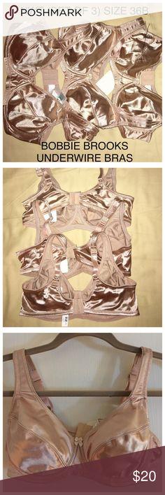 NWT Bundle of Bobbie Brooks Bras Beautiful shiny champagne color well-made adjustable underwire bras all size 36B Bobbie Brooks Intimates & Sleepwear Bras