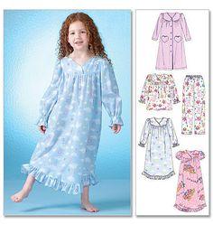 whatcamefirst Girls Sleepwear Pattern / Make Child Pajamas - PJs / Nightgown - Nightie / Bathrobe - Robe/ Sizes 2 to 5 or 6 to 8 Girls Sleepwear, Girls Pajamas, Fashion Sewing, Fashion Kids, Baby Girl Dresses, Baby Dress, Nightgown Pattern, Pajama Pattern, The Dress