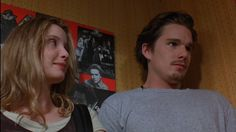 Favourite scene from Before Sunrise Julie Delpy and Ethan Hawke. Sunrise Music, Before Trilogy, Julie Delpy, Ethan Hawke, Film Aesthetic, Movie Couples, Before Sunrise, Film Inspiration, Piece Of Music