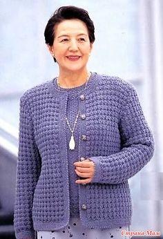 Жакет плотным узором. Крючок. - ВЯЗАНАЯ МОДА+ ДЛЯ НЕМОДЕЛЬНЫХ ДАМ - Страна Мам Easy Sweater Knitting Patterns, Crochet Cardigan Pattern, Crochet Jacket, Crochet Blouse, Knitting Designs, Crochet Patterns, Crochet Clothes, Diy Clothes, Easy Stitch