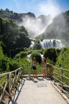 Cascata delle Marmore in Terni, Italy.  Make sure you are at the waterfall in time. The waterfall only flows for 2 hours on weekdays.  Park the car at the parking lot at the base of the waterfall. There you have to buy a ticket for the park (euro 9  p/p). Note: you have to stand in line (in the high season) quite long. When entering the park there are several routes up, but take the routes close to the waterfall: http://www.europeanwaterfalls.com/waterfalls/marmore-cascata-delle/