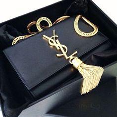 9db15e7432 ysl tassel bag dupe. Black clutch with gold tassel.  blacktasselbag ...
