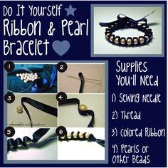 DIY Pearl & Ribbon Bracelet, created by kellylynne68 on Polyvore
