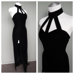 Vampy 80s 90s Black Velvet Cage Cut Out Gown w/ High Cut Side Slit - Goth Fetish Dominatrix - size Small Medium