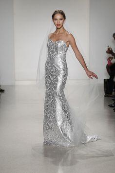 glam silver wedding gown   Kelly Faetanini