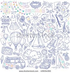 Summer season themed doodle set. Traditional symbols and activities: sun, beach, surfing, yacht, travelling, picnic,  barbecue party. Freehand vector drawing isolated over white background. - stock vector