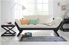 Schlafsofa   Modernes Sofa Mit Abklappbaren Seitenteilen. Klappt Man Eine  Armseite Ab, Kann Man
