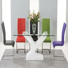 NEVADA 180CM WHITE HIGH GLOSS AND GLASS DINING TABLE WITH MALAGA CHAIRS