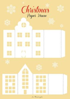christmas paper house template paper house template awesome definitely want to design some for christmas paper houses templates - Templates Station Noel Christmas, Christmas Paper, Vintage Christmas, Origami Christmas, Christmas Projects, Christmas Crafts, Christmas Decorations, Christmas Lanterns, Diy Paper