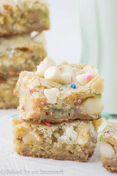 These White Chocolate Macadamia Nut Funfetti Blondies are soft, chewy, buttery, and loaded with white chocolate chips and macadamia nuts.