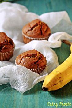 Wegańskie bezglutenowe muffiny bananowe   Cukry Proste Clean Eating, Cooking Recipes, Gluten Free, Sweets, Vegan, Breakfast, Cake, Food, Interior