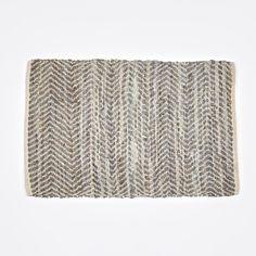 Rug 'Zigzag' Leather / Cotton 60x90cm - Light Grey