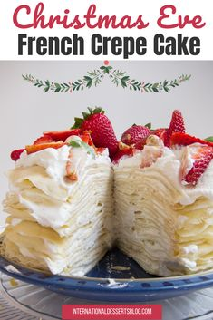 This French Mille Crepe Cake looks impressive but is super easy to make! This tasty fruit cake has 20 vanilla crepe layers and a lemon cream filling. Perfect for a birthday or Christmas Eve party. Click for the recipe tutorial on how to make this luscious lemon strawberry crepe cake. Make this easy yet impressive recipe this Christmas! Get creative - add nutella, mascarpone, chocolate, almonds or hazelnuts! #dessertrecipes #frenchdesserts #christmasdesserts