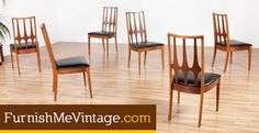 Set of six Broyhill Brasilia dining chairs. Vintage 1960s, American made, walnut wood frames. Designed by Oscar Niemeyer for Broyhill.