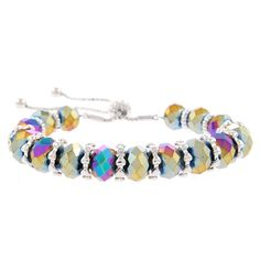 A bright multicolored strand of stunning rainbow beads mixed with rich rhodium detailing, featuring a drawstring closure, this bracelet is guaranteed to provide eye-catching allure! Full Finger Rings, Ring Finger, Crystal Beads, Swarovski Crystals, Cross Patterns, Stretch Bracelets, Things That Bounce, Mystic, Sterling Silver
